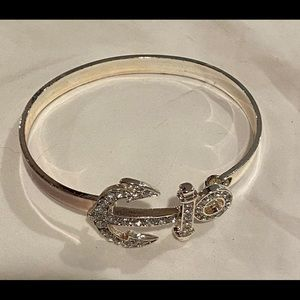 New silver anchor bangle bracelet